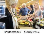 customer giving packet to... | Shutterstock . vector #580096912