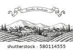vineyard seamless landscape.... | Shutterstock .eps vector #580114555