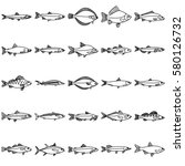 fish icons with line style.... | Shutterstock .eps vector #580126732
