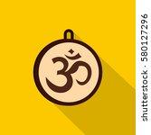 hindu om symbol icon. flat... | Shutterstock .eps vector #580127296