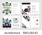 memphis geometric background... | Shutterstock .eps vector #580128142
