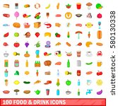 100 colour food icons set in... | Shutterstock .eps vector #580130338