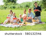 smiling family of six having ... | Shutterstock . vector #580132546