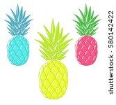 cartoon ananas.colorful... | Shutterstock .eps vector #580142422