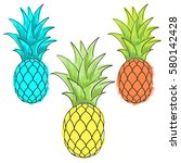 ananas vector set.three... | Shutterstock .eps vector #580142428