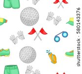 game of golf pattern. cartoon... | Shutterstock . vector #580143376