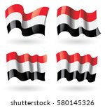 yemen flag waving set | Shutterstock .eps vector #580145326