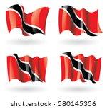 trinidad and tobago flag waving ...   Shutterstock .eps vector #580145356
