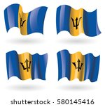 barbados flag waving set | Shutterstock .eps vector #580145416