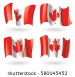 canada flag waving set | Shutterstock .eps vector #580145452