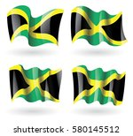 jamaica flag waving set | Shutterstock .eps vector #580145512