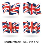 united kingdom flag waving set | Shutterstock .eps vector #580145572