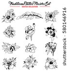 vector flowers set traditional...   Shutterstock .eps vector #580146916