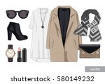 lady fashion set of autumn ... | Shutterstock .eps vector #580149232