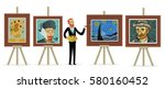 impressionist painter painting... | Shutterstock .eps vector #580160452