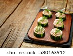 cucumber salmon mousse... | Shutterstock . vector #580168912