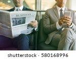business men break sit read... | Shutterstock . vector #580168996