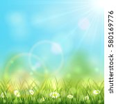 sunny spring or summer day with ... | Shutterstock .eps vector #580169776
