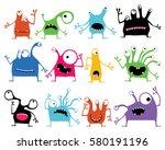 set of twelve color cute... | Shutterstock .eps vector #580191196