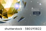 Golden polygonal abstract triangle sphere combination on connection dot space background graphic template | Shutterstock vector #580195822