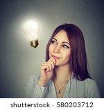 closeup portrait beautiful... | Shutterstock . vector #580203712
