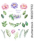 handpainted watercolor flowers... | Shutterstock . vector #580207552