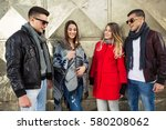 group of cheerful young friends ... | Shutterstock . vector #580208062