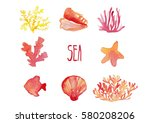 hand drawing elements set of... | Shutterstock . vector #580208206