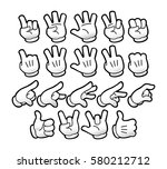 emoticon set. cartoon gloved... | Shutterstock .eps vector #580212712