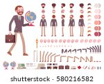 Male teacher character creation set. Full length, different views, isolated against white background. Build your own design. Cartoon flat-style infographic illustration | Shutterstock vector #580216582