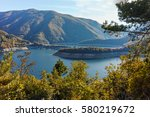 amazing ladscape with  forest... | Shutterstock . vector #580219672