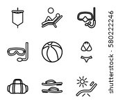 beach vector icons. set of 9... | Shutterstock .eps vector #580222246