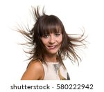 girl portrait with long blowing ... | Shutterstock . vector #580222942
