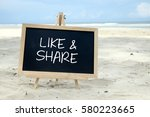 like   share. chalkboard with... | Shutterstock . vector #580223665