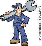 Cartoon Mechanic Holding A Huge ...