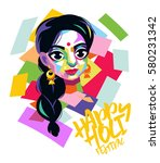 happy holi graphic card design... | Shutterstock .eps vector #580231342