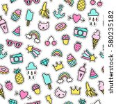 cute objects seamless pattern.... | Shutterstock .eps vector #580235182