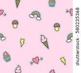Cute Objects Pattern With Pink...