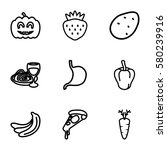 vegetarian vector icons. set of ... | Shutterstock .eps vector #580239916