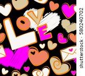 vector. seamless vector heart... | Shutterstock .eps vector #580240702