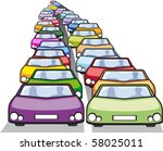 double row of cars in traffic | Shutterstock .eps vector #58025011
