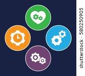 cogwheel vector icons. set of 4 ... | Shutterstock .eps vector #580250905
