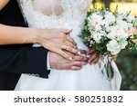wedding flowers ind rings on... | Shutterstock . vector #580251832