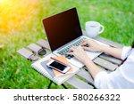 freelance work. casual dressed... | Shutterstock . vector #580266322