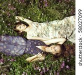 Two Romantic Girl Lying On...