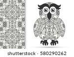 decorative hand drawn owl bird... | Shutterstock .eps vector #580290262