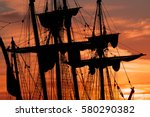 tall ship masts and rigging... | Shutterstock . vector #580290382