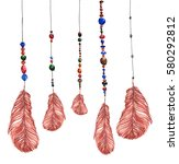 feathers  hanging on strings... | Shutterstock . vector #580292812
