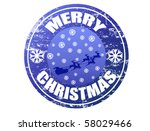 Blue grunge rubber stamp with Flying Santa, snowflakes and the text Merry Christmas written inside the stamp - stock vector