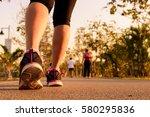close up shoe of runner feet... | Shutterstock . vector #580295836
